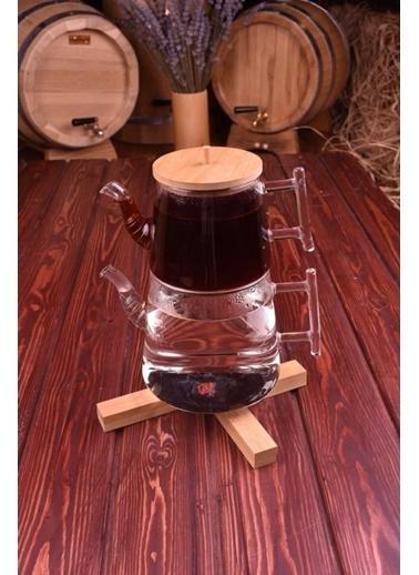 Bambum Pori Borosilikat Cam Çaydanlık Renkli